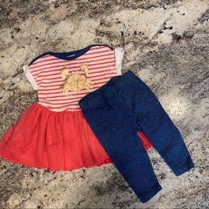 Baby girl crab dress with leggings